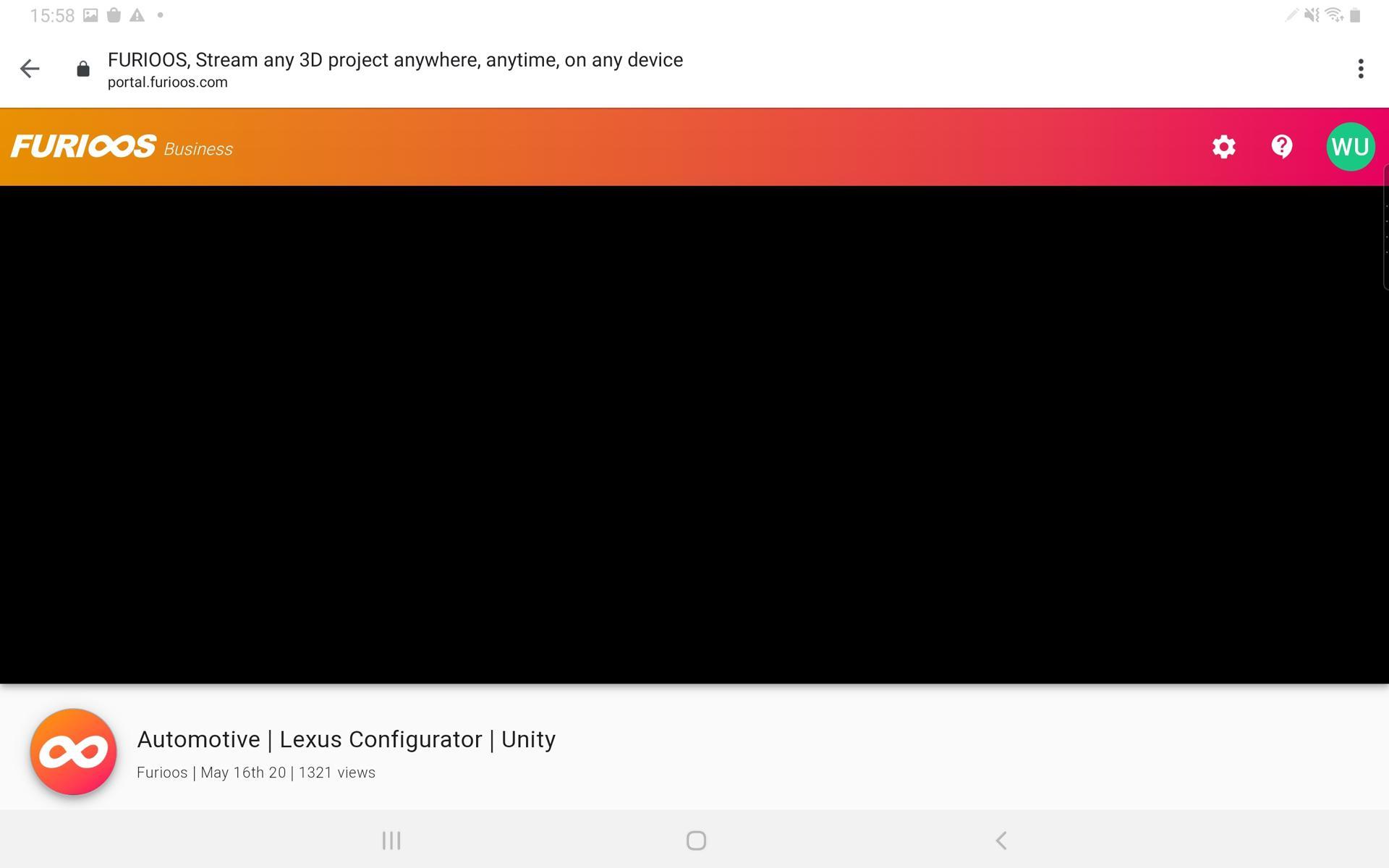 mobile black screen - Automotive | Lexus Configurator | Unity